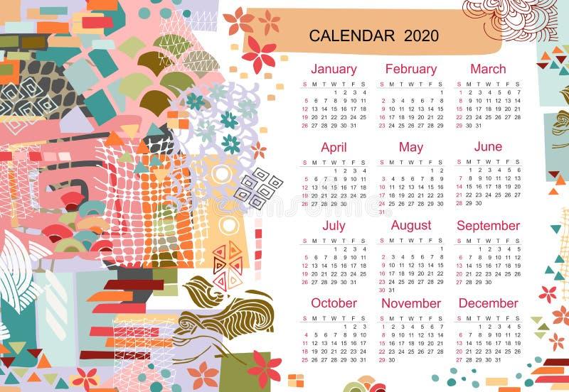 Creatief kalendermalplaatje voor het jaar van 2020 met kleurrijke moderne abstracte druk Collage van verschillende vormen en text royalty-vrije illustratie