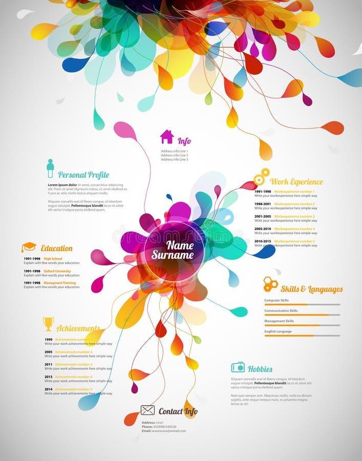Creatief, kleurrijk cv/hervat malplaatje stock illustratie