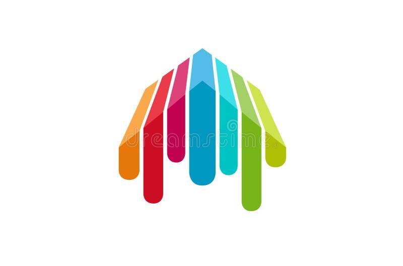 Creatief Kleurrijk Dak Logo Design Illustration vector illustratie