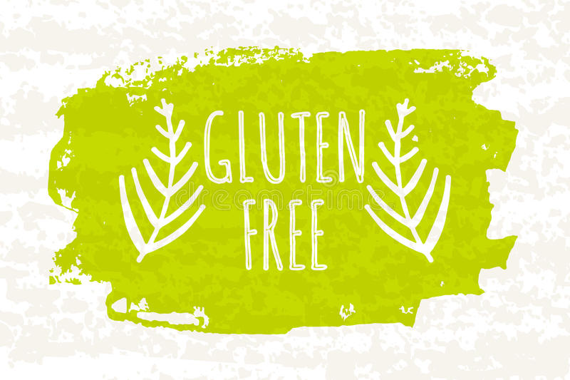 Creatief kleurrijk groen bioaffichegluten vrij voor het gezonde eten en op dieet zijn geïsoleerd op witte achtergrond met oude do royalty-vrije illustratie