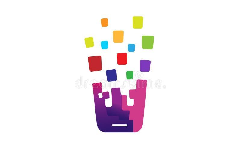 Creatief Kleurrijk Handenjong geitje binnen Embleem stock illustratie