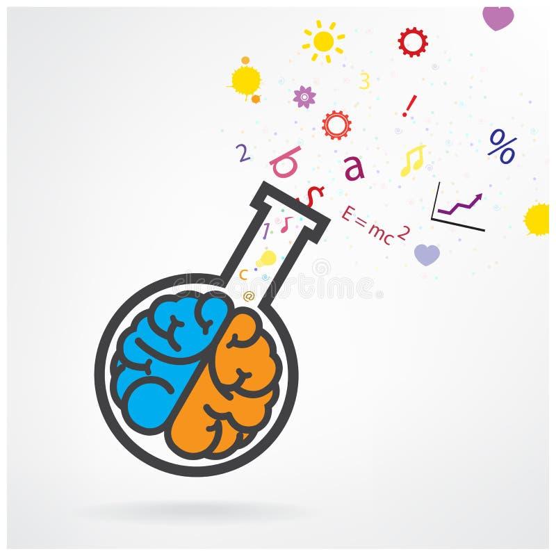 Creatief linker en juist hersenenteken met de reageerbuis op grijze bedelaars royalty-vrije illustratie