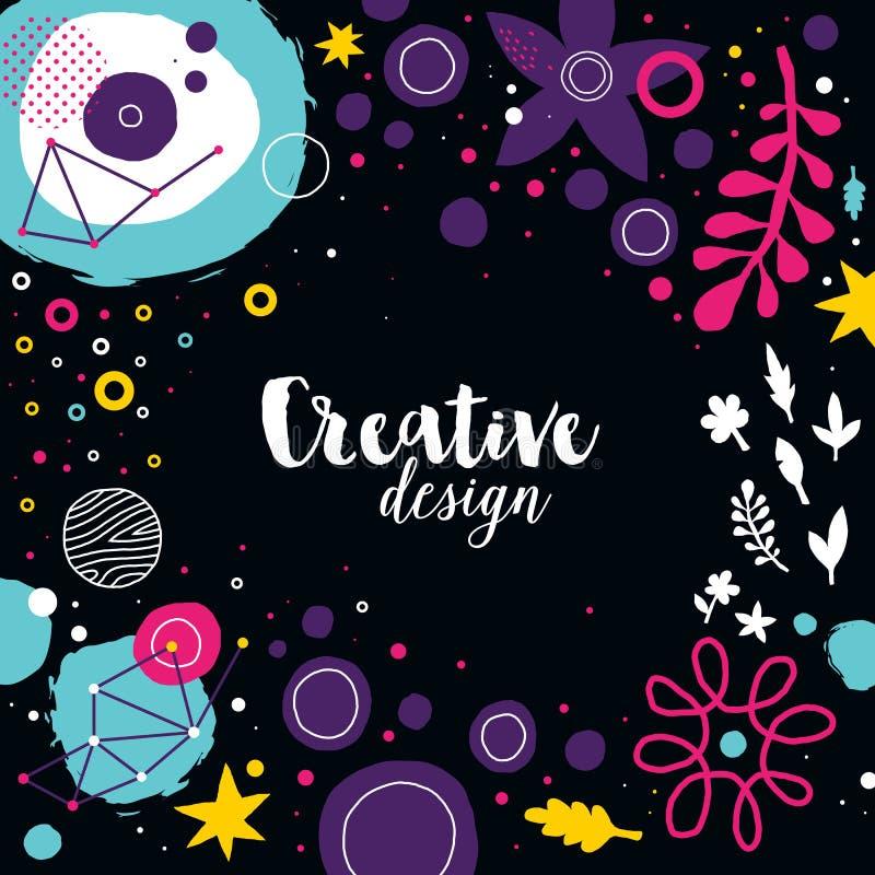 Creatief malplaatje als achtergrond met abstracte hand getrokken elementen Kan voor adverterend en grafisch ontwerp worden gebrui royalty-vrije illustratie