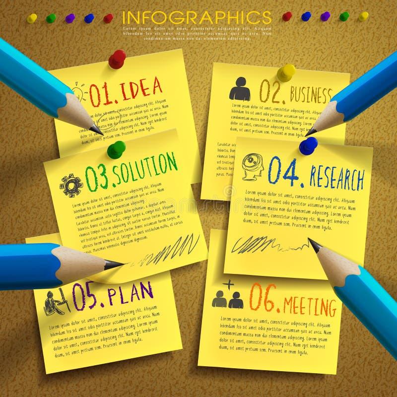 Creatief malplaatje infographic met post-it en potlood vector illustratie