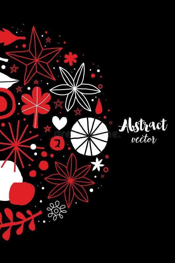 Creatief malplaatje met bloemen en abstracte hand getrokken elementen Kan voor reclame, grafisch ontwerp worden gebruikt stock illustratie