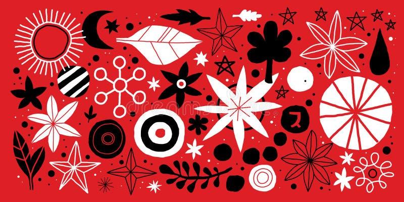 Creatief malplaatje met bloemen en abstracte hand getrokken elementen Kan voor reclame, grafisch ontwerp worden gebruikt vector illustratie