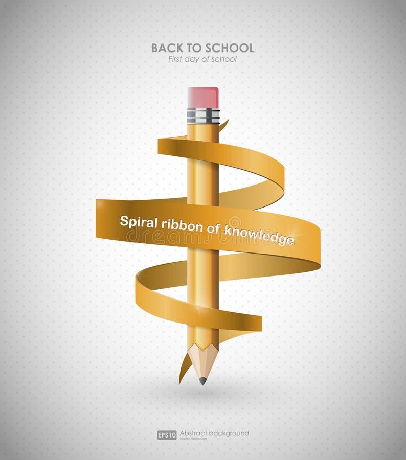 Creatief malplaatje met potlood en spiraalvormig lint De achtergrond voor terug naar school, kan voor infographics en banners wor stock illustratie