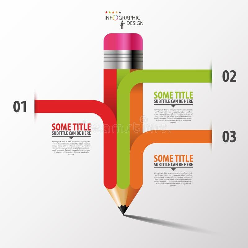 Creatief Malplaatje met potloodlint Infographicsvector royalty-vrije illustratie