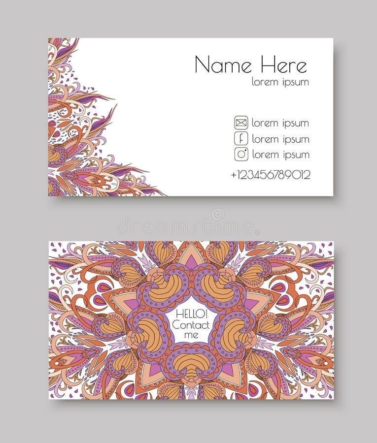 Creatief malplaatje voor ontwerper, fotograaf of studio Vector editable patroon met de kaarten van het voor en achterkantbezoek stock fotografie