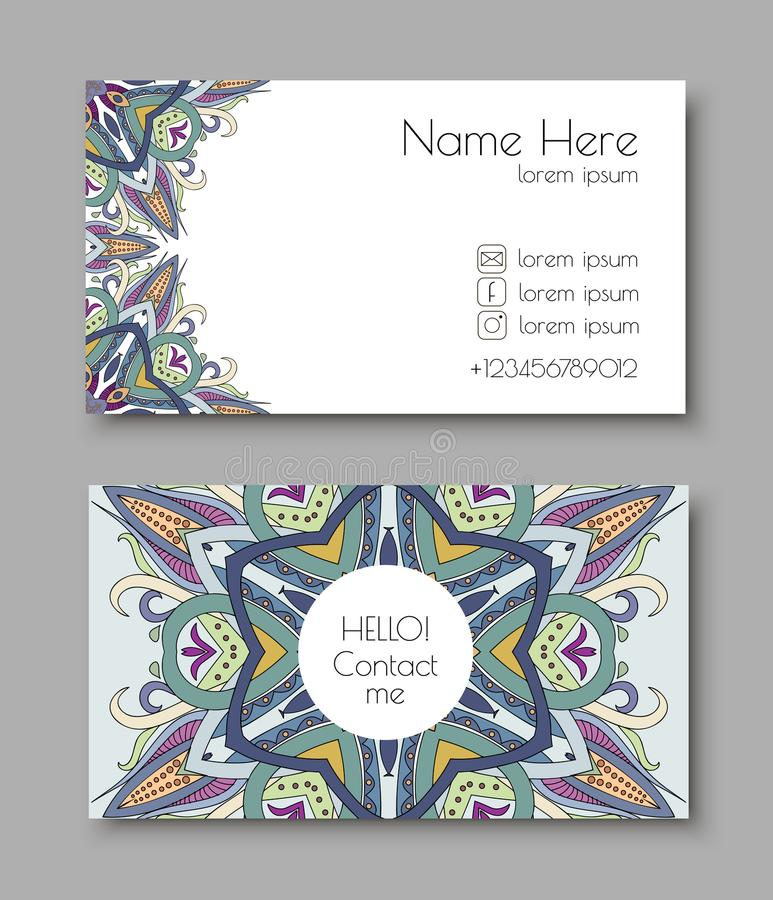 Creatief malplaatje voor ontwerper, fotograaf of studio Vector editable patroon met de kaarten van het voor en achterkantbezoek stock foto
