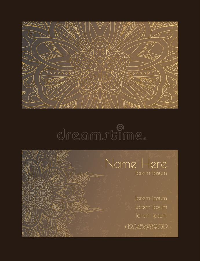 Creatief malplaatje voor ontwerper, fotograaf of studio Vector editable patroon met de kaarten van het voor en achterkantbezoek royalty-vrije stock fotografie