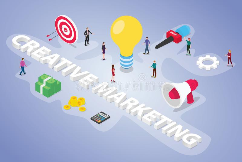 Creatief marketing van bedrijfs teammensen concept met grote ideeën en marketing gegevens en begroting met moderne isometrische v vector illustratie