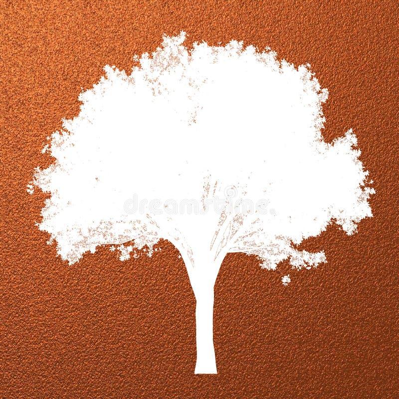Creatief modern abstract die boomsilhouet op het patroonachtergrond van de kopertextuur wordt geïsoleerd met ruimte voor tekst of vector illustratie