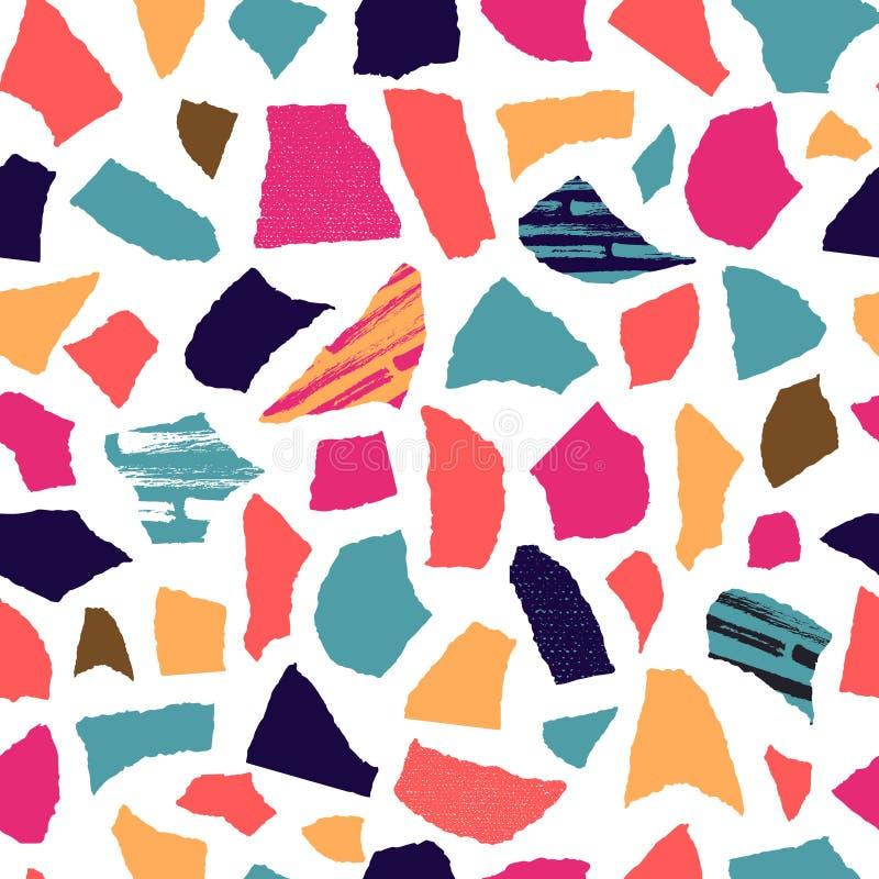 Creatief naadloos die patroon van geweven document knipsels wordt gecreeerd stock illustratie