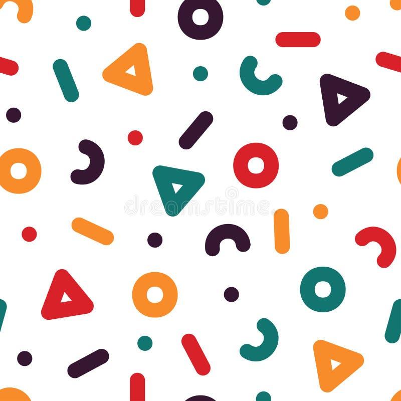 Creatief naadloos patroon - in kleurrijke achtergrond De stijl van Memphis, de manierjaren '80 - jaren '90 vector illustratie