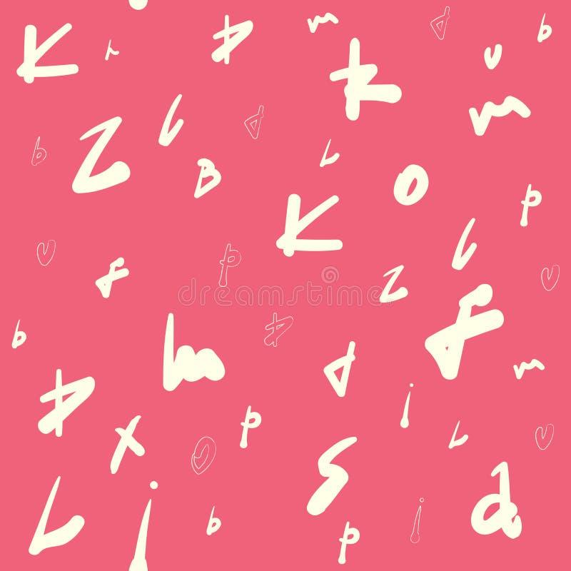 Creatief naadloos patroon met abstracte markeringen, brieven Hand-drawn voor ontwerpen: affiches, uitnodigingen, kaarten, enz. Ve stock illustratie