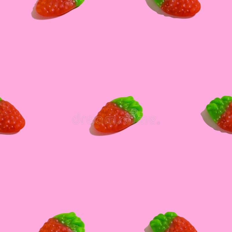 Creatief naadloos patroon met geleiframboos op roze achtergrond Suikergoed abstracte achtergrond stock illustratie