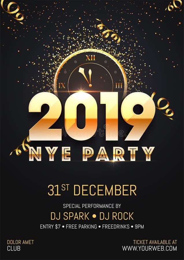 Creatief 2019 NYE (Nieuwjaarvooravond) van de Partijmalplaatje of vlieger ontwerp stock illustratie