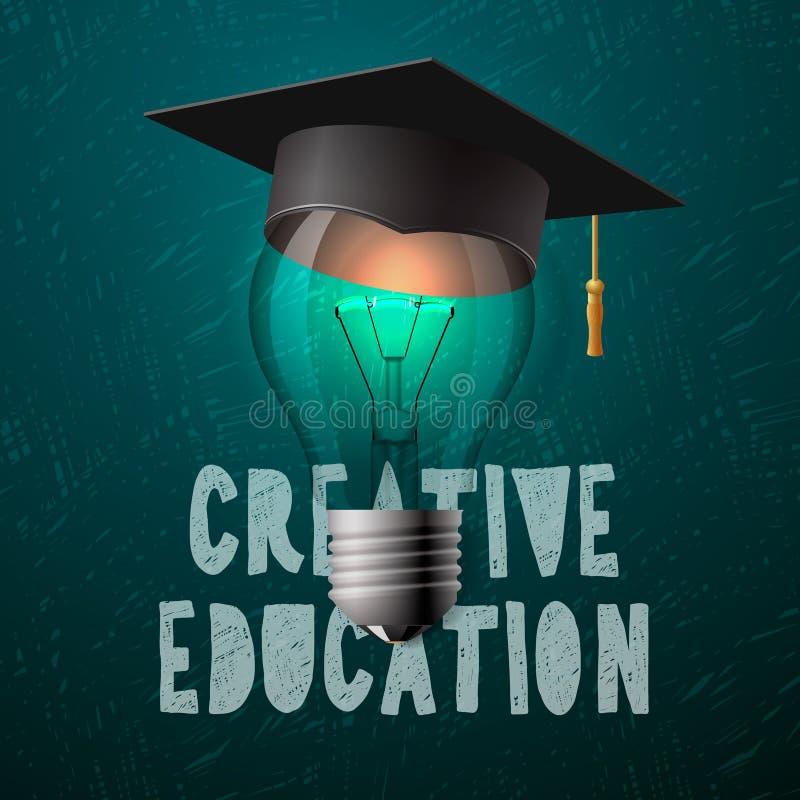 Creatief onderwijsontwerp, bol met baret vector illustratie
