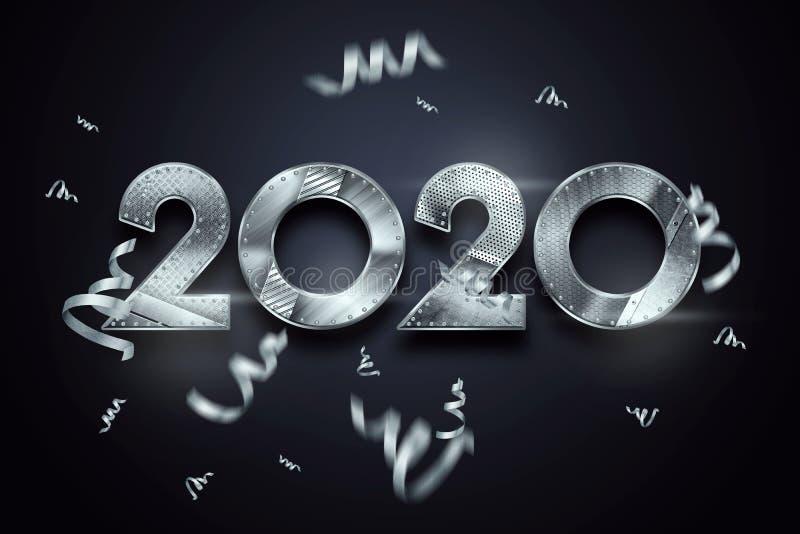 Creatief ontwerp, Gelukkig Nieuwjaar, Metaalnummer 2020 Ontwerp op een donkere achtergrond Vrolijke Kerstmis 3d illustratie, het  royalty-vrije illustratie
