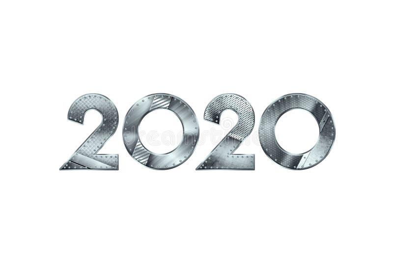 Creatief ontwerp, Gelukkig Nieuwjaar, Metaalnummer 2020 Ontwerp op een lichte achtergrond Vrolijke Kerstmis 3d 3d illustratie, vector illustratie