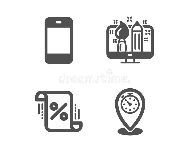 Creatief ontwerp, Leningspercenten en Smartphone-pictogrammen Tijdopnemerteken Vector vector illustratie