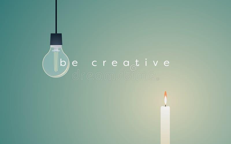 Creatief oplossings bedrijfs vectorconcept met lightbulb en kaars het lichte branden Eenvoudige oplossing voor succes stock illustratie