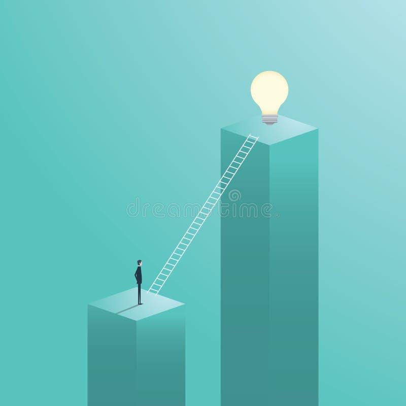 Creatief oplossings bedrijfs vectorconcept met zakenman het beklimmen op ladder aan een gloeilamp vector illustratie