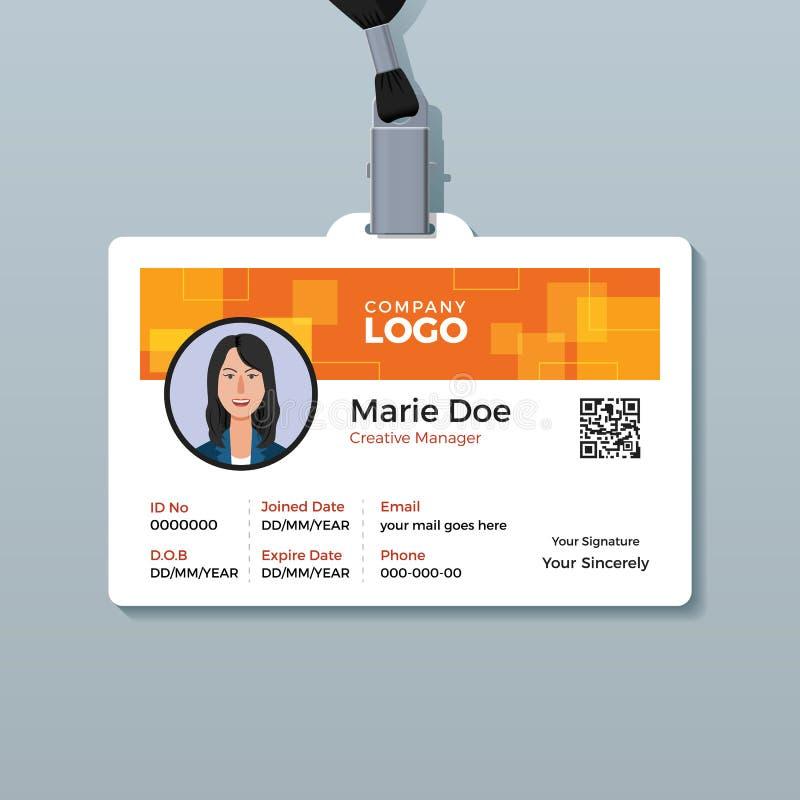 Creatief Oranje Identiteitskaartmalplaatje stock illustratie