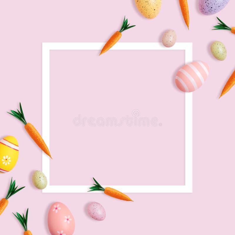 Creatief Pasen-patroon van wortelen en kleurrijke eieren op roze achtergrond Minimale Pasen-samenstelling Vlak leg vector illustratie