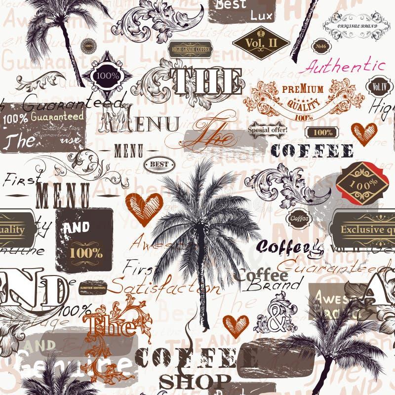 Creatief in patroon met retro etiketten, palmen, ornament stock illustratie