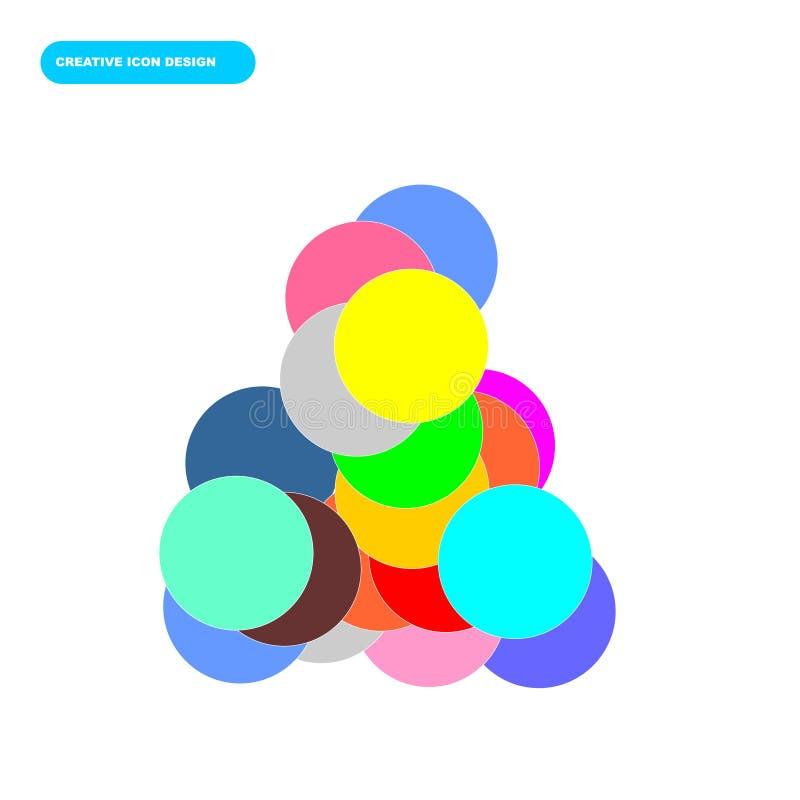 Creatief pictogramontwerp van cirkelvoorwerpen met kleurrijk concept stock afbeeldingen