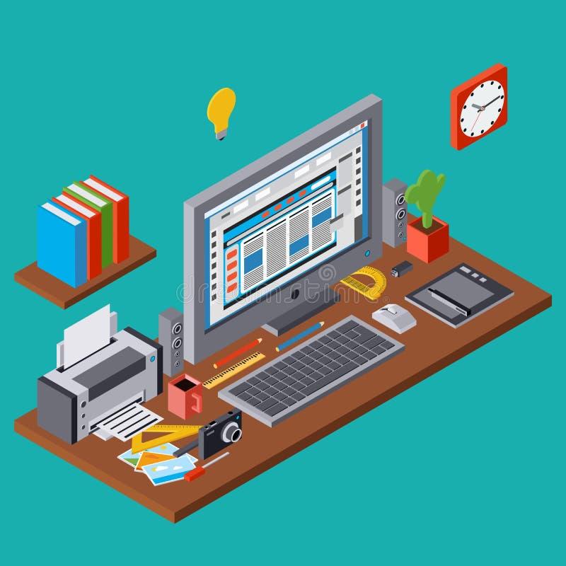 Creatief proces, grafisch Webontwerp, het vectorconcept van de websiteontwikkeling vector illustratie
