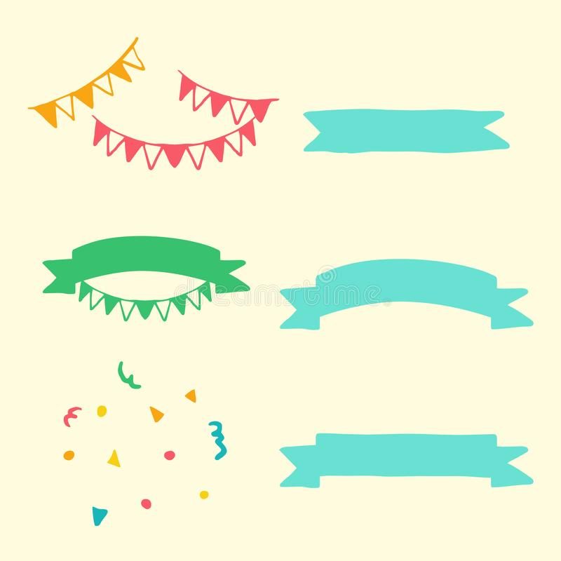 Creatief, reeks de hand getrokken voorwerpen en symbolen van het krabbelbeeldverhaal op het element van de verjaardagspartij royalty-vrije illustratie