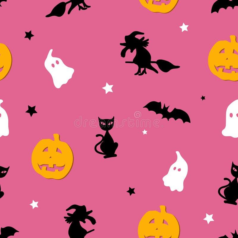 Creatief roze naadloos Halloween-patroon stock illustratie