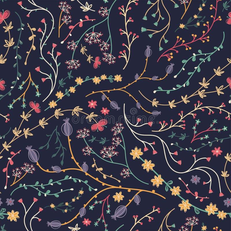 Creatief seamesspatroon met takken en bloemen, artistieke herhalingsachtergrond, hand getrokken schets bloemenelementen, groot vo royalty-vrije illustratie