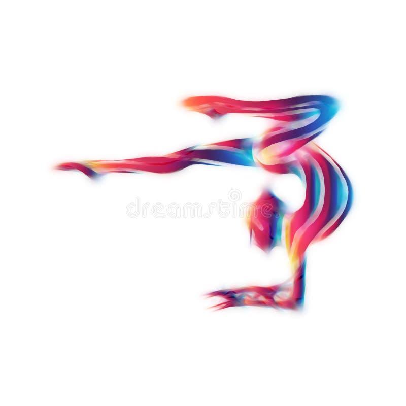 Creatief silhouet van gymnastiek- meisje Kunstgymnastiek stock foto