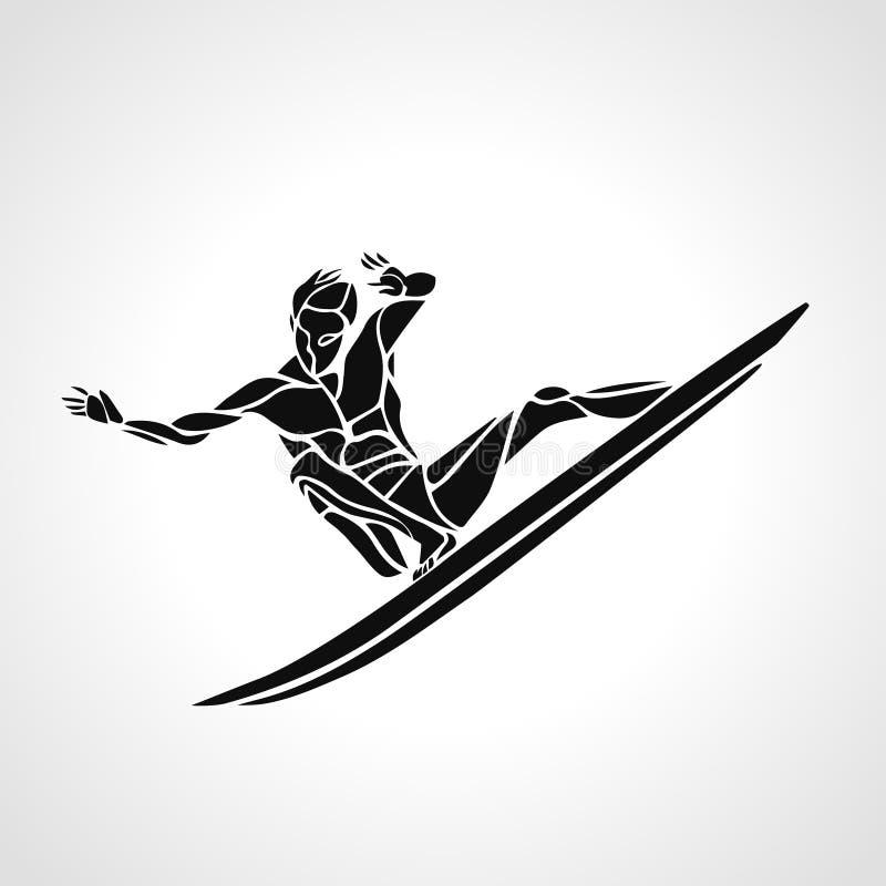 Creatief silhouet van surfer stock illustratie