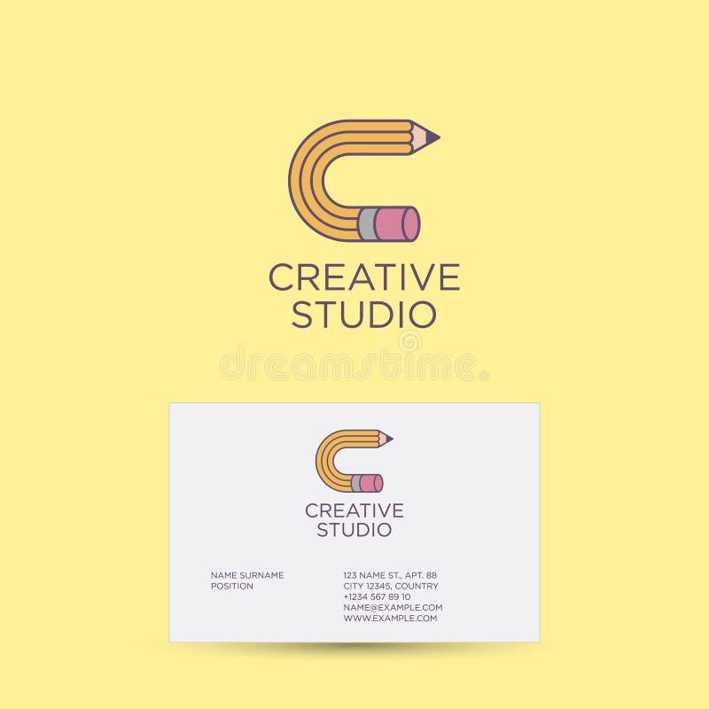 Creatief studioembleem en identiteit C monogram C brief als potloodpictogram identiteit royalty-vrije illustratie