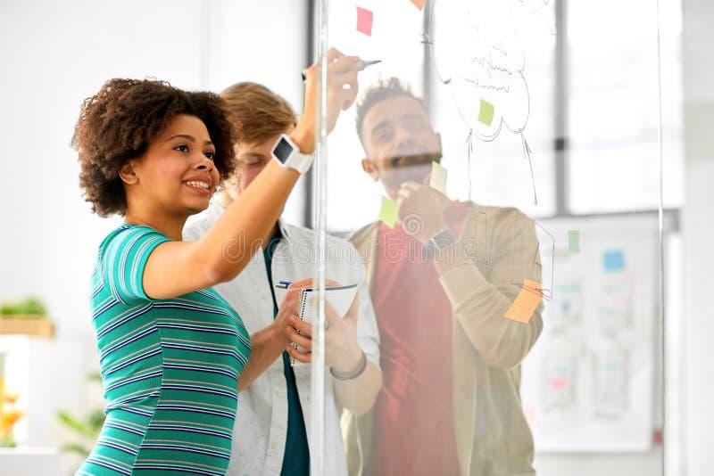 Creatief team die op glasraad op kantoor schrijven stock foto