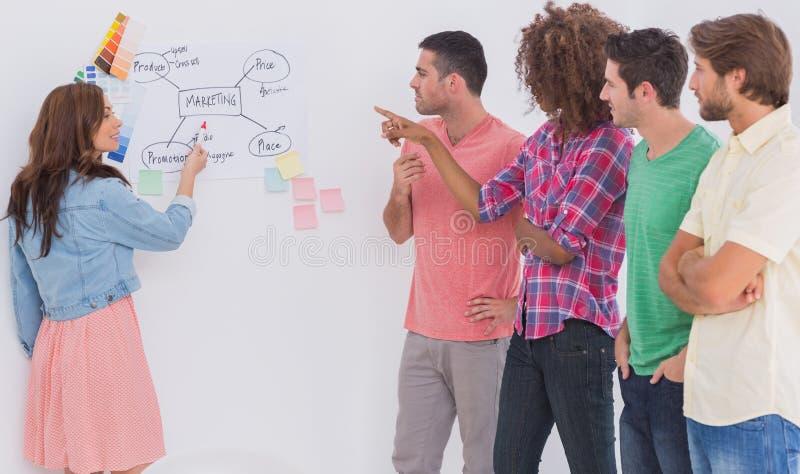 Creatief team het letten op collega huidig stroomschema op whiteboard in bureau stock afbeelding