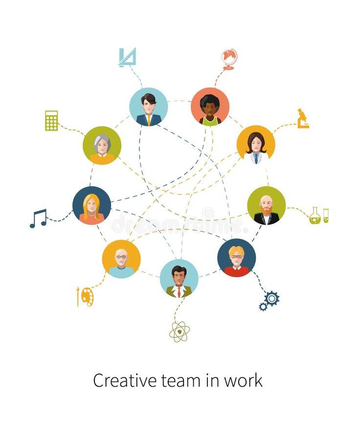 Creatief team in het werk, mensenavatars met tekens vector illustratie