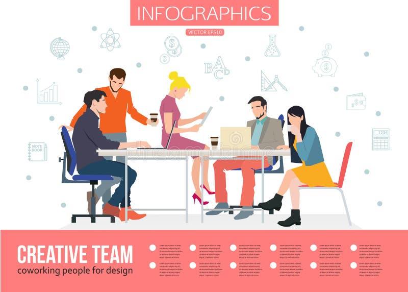 Creatief Team Infographics Commerciële vergadering en stock illustratie