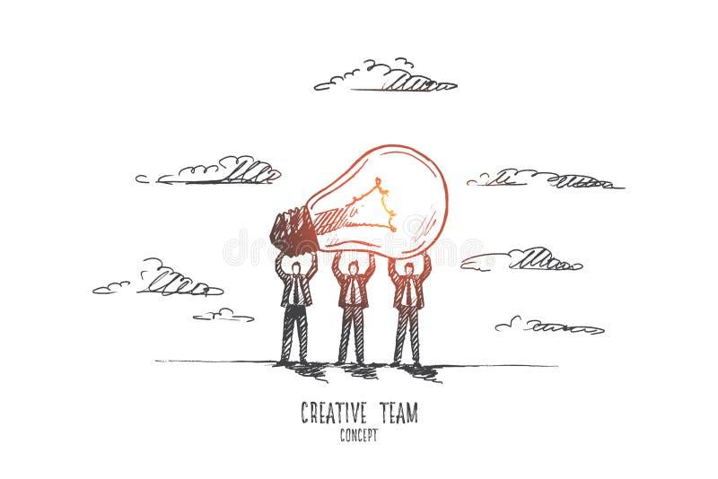 Creatief teamconcept Hand getrokken geïsoleerde vector royalty-vrije illustratie