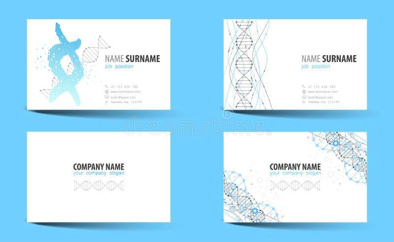 Creatief tweezijdig adreskaartjemalplaatje DNA-thema stock illustratie