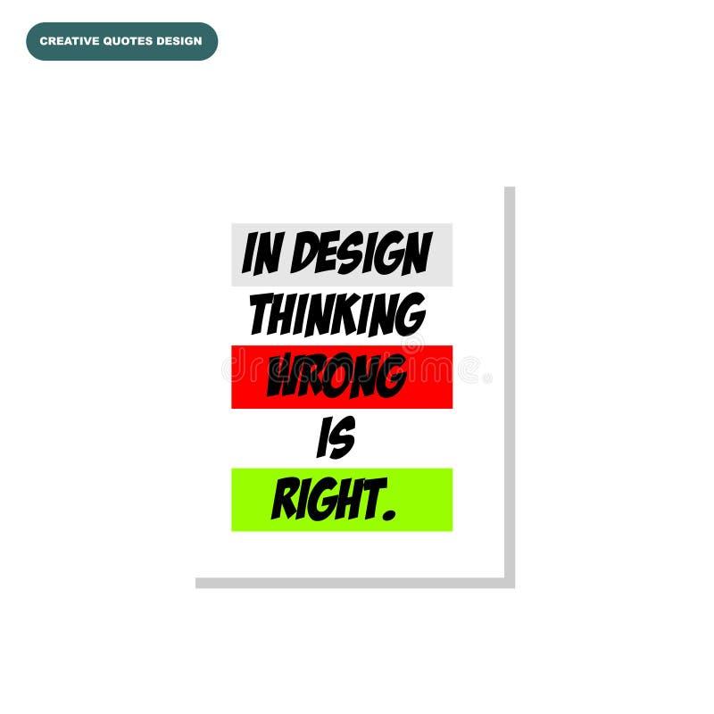 Creatief typografieontwerp van ` IN ONTWERP die VERKEERD DENKEN stock foto's