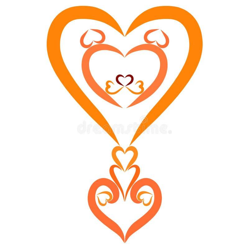 Creatief uitroepteken van harten met een leeuw` s hoofd vector illustratie