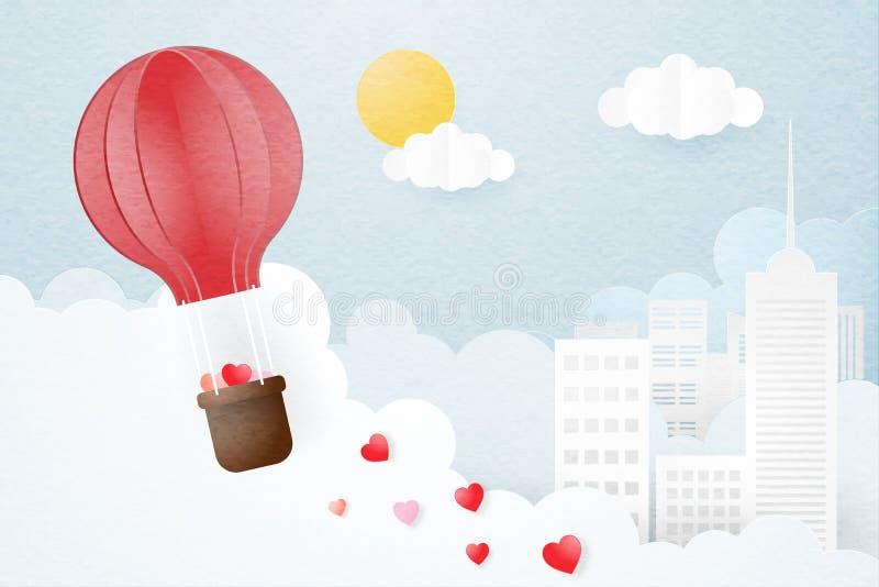 Creatief van de dagconcept van liefdevalentijnskaarten De ballon die van de origami hete lucht over stad en wolkenachtergrond vli vector illustratie