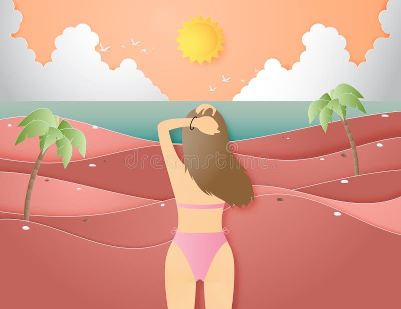 Creatief van de illustratiezomer concept als achtergrond met landschap van strand en overzees, bikinimeisje vector illustratie