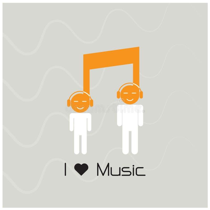 Creatief van het het tekenpictogram en silhouet van de muzieknota mensensymbool mus vector illustratie